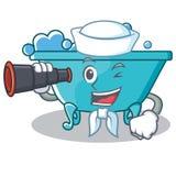 水手浴缸字符动画片样式 免版税库存图片