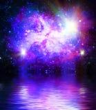 水抽象概念星系空间和反射波纹波浪  向量例证