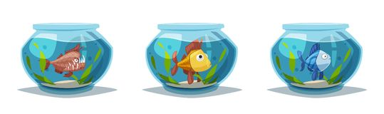 水族馆用清楚的水 外籍动画片猫逃脱例证屋顶向量 向量例证