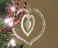 水晶圣诞节心脏 免版税库存图片