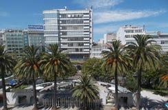 水晶城市中央Acoruna的好的看法 加利西亚 免版税库存图片