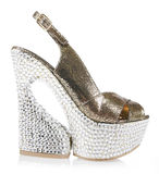 水晶复了平台鞋子 免版税图库摄影