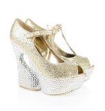 水晶复了金鞋子 免版税库存照片