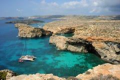 水晶海湾, Comino海岛,马耳他。 免版税库存照片