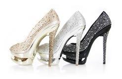 水晶被复的脚跟鞋子 库存图片