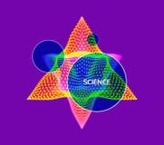 水晶 与小点的对象 分子栅格 3D与微粒的技术样式 也corel凹道例证向量 免版税库存照片