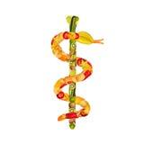 水果和蔬菜众神使者的手杖  免版税库存照片