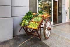 水果和蔬菜在台车 免版税图库摄影