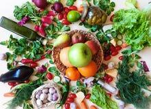 水果和蔬菜红辣椒绿色salat红色蕃茄淡紫色葱大蒜荷兰芹莳萝萝卜健康饮食 图库摄影