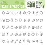 水果和蔬菜线象集合,素食主义者 皇族释放例证