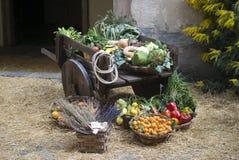 水果市场中世纪出售的停转 免版税库存照片