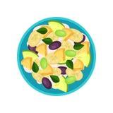 水果沙拉做了香蕉、菠萝、李子、绿色葡萄和酸奶 鲜美盘,顶视图 健康的食物 平的传染媒介 库存例证