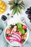水果沙拉用在碗的热带水果 免版税库存照片
