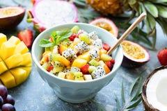 水果沙拉用热带水果芒果,椰子,在碗的pitaya 库存图片