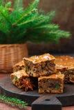水果蛋糕用葡萄干,日期,糖煮的柑橘,蜂蜜,桂香 库存照片