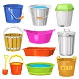 水桶处理容器设备家庭干净的塑料空的国内工具传染媒介例证 皇族释放例证