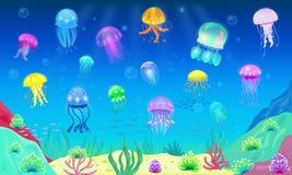 水母传染媒介海洋水母或海果冻和水下的荨麻鱼或medusae例证套异乎寻常 向量例证
