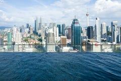 水池和地平线在吉隆坡 免版税库存照片