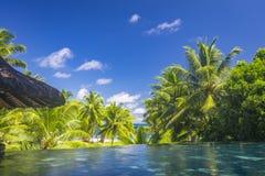 水池视图,塞舌尔群岛 库存照片