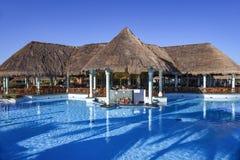 水池酒吧 在游泳的透明水的早晨阴影 免版税库存图片