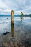 水泥柱子和石头在水中 免版税库存照片