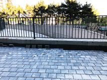 水泥砖正方形石头地板背景 灰色地板纹理  免版税库存图片