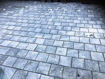 水泥砖正方形石头地板背景 灰色地板纹理  图库摄影