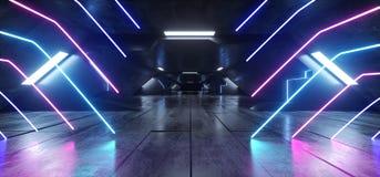 水泥科学幻想小说未来派具体氖激光带领了充满活力的发光的蓝色紫色虚拟现实外籍人船空间减速火箭的霍尔走廊 皇族释放例证