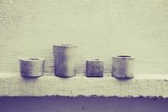 水泥罐和墙壁照片 免版税库存图片