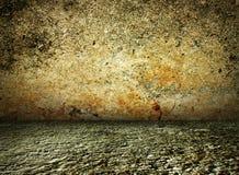 水泥黑暗的房子内部土气葡萄酒 库存例证