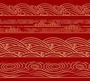 水海波浪设置了,海洋题材,塑造减速火箭的无缝的水平的样式 设计的亚洲中国日本式 皇族释放例证
