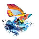 水激活休闲 与冲浪板的风帆冲浪的字符和乘坐在海洋 消遣海滩水上运动平的设计炭灰 向量例证