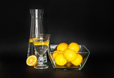 水玻璃水瓶和一个切的柠檬、一杯水和透明碗柠檬 免版税库存照片