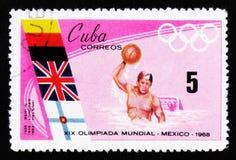 水球,奥运会在墨西哥,大约1968年 免版税库存图片