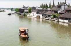 水的中国村庄 免版税库存照片