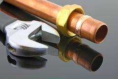水管工管道工程管组 库存照片