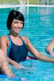 水色执行健身体操 免版税库存照片