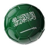 水色球取火镜足球 沙特阿拉伯的标志 库存图片