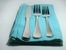 水色简单的餐位餐具 库存照片