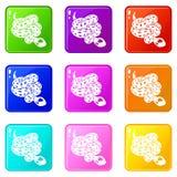 水蟒蛇象设置了9种颜色汇集 向量例证
