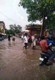 水被采伐的街道 图库摄影