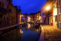 水运河在晚上 免版税图库摄影