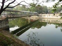 水,湖,横渡区域人神色在秀丽并且看达卡孟加拉国的本质 库存照片