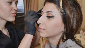 永久构成 永久刺字眼眉 申请永久的美容师在眼眉眼眉纹身花刺组成 免版税库存图片