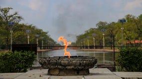 永恒和平火焰在蓝毗尼,尼泊尔 库存照片