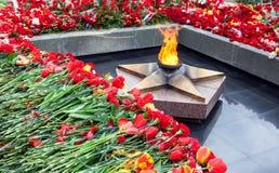 永恒火焰和花以记念胜利在伟大 库存照片