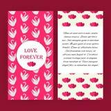 永远爱与白色天鹅的桃红色飞行物小册子 库存例证