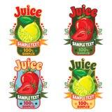 汁液标签的模板从柠檬和草莓的 免版税库存图片