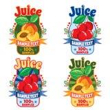 汁液标签的模板从桃子和樱桃的 图库摄影