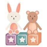 求与熊和女用连杉衬裤玩具娱乐正方形框架和生日元素传染媒介illustraitor的块的立方 皇族释放例证